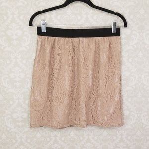 Ann Taylor Loft Pink Lace Overlay Skirt